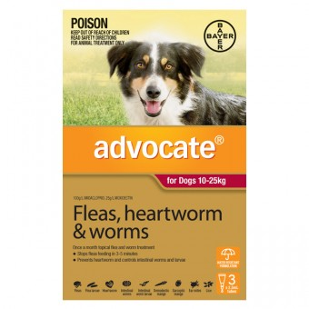 ADVOCATE DOG MEDIUM RED 3 PACK 10-25KG